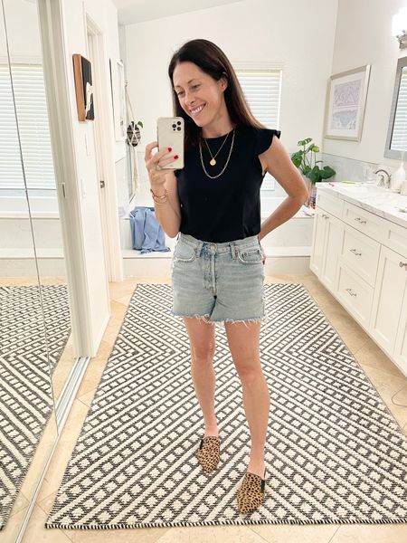 Tee - @able (true to size) Code ARTINTHEFIND25 for 25% off  Shorts Parker long shorts @agolde true to size   Shoes @jennikayne 20% off through the weekend with code FRESHSTART   #LTKsalealert #LTKshoecrush #LTKstyletip