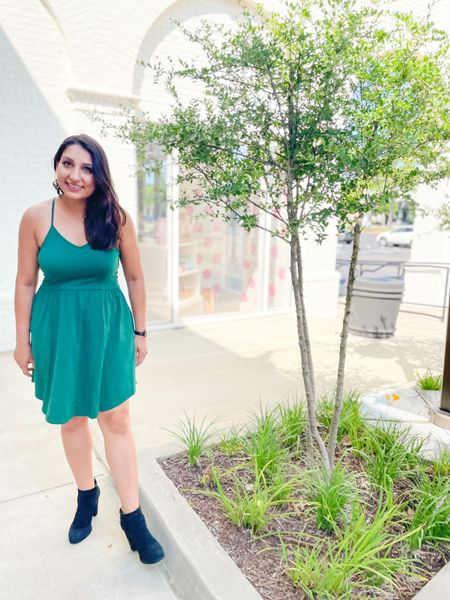 Green dress for fall. #fallfashion #falldress   #LTKSeasonal #LTKshoecrush #LTKstyletip