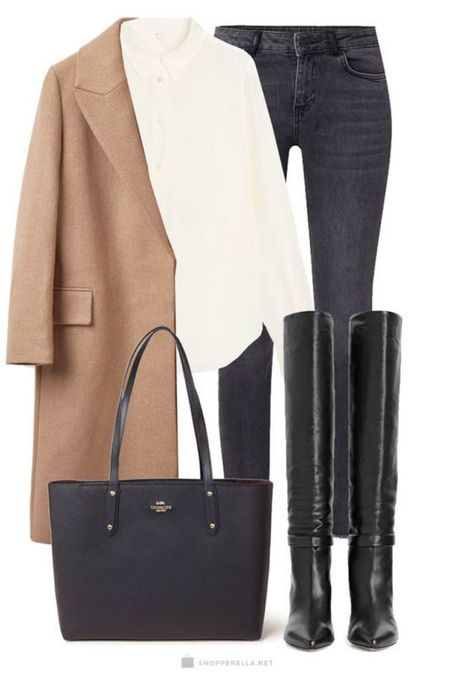 A casual look with a camel coat, high boots, oversized blouse, jeans and a leather bag. #LTKstyletip http://liketk.it/35kdk #LTKunder100 @liketoknow.it.europe #liketkit @liketoknow.it