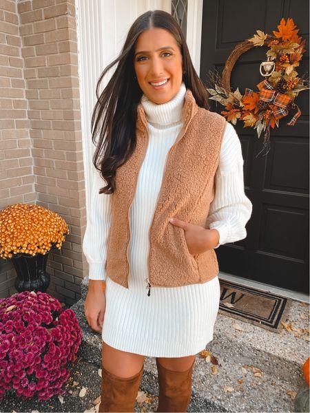 Turtleneck sweater dress from Amazon fashion, under $40, medium and Sherpa vest   #LTKsalealert #LTKSeasonal #LTKunder50
