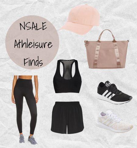 Nordstrom Anniversary Sale athleisure finds: Spanx black leggings, Zella workout shorts, Zella sports bra, Adidas sneakers, Madewell pink hat, and Ted Baker pink tote bag🖤💗 #nsale  #LTKsalealert #LTKshoecrush #LTKfit