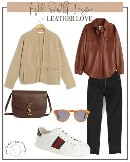 Leather shirt fall outfits that are perfect for everyday! Instead of a leather jacket, try this adorable leather top! http://liketk.it/2ZQ1G #liketkit @liketoknow.it #LTKunder100 #LTKstyletip #LTKsalealert