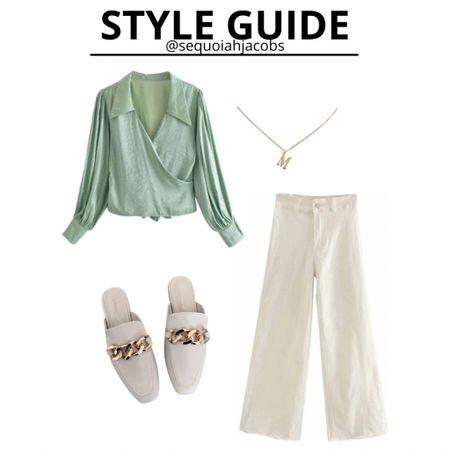 Outfit inspo 30% off with code: summer2021 Teacher outfit, teacher looks, goodnight Macaroon, sale, mules, initial necklace, wide leg jeans.  #LTKworkwear #LTKstyletip #LTKsalealert