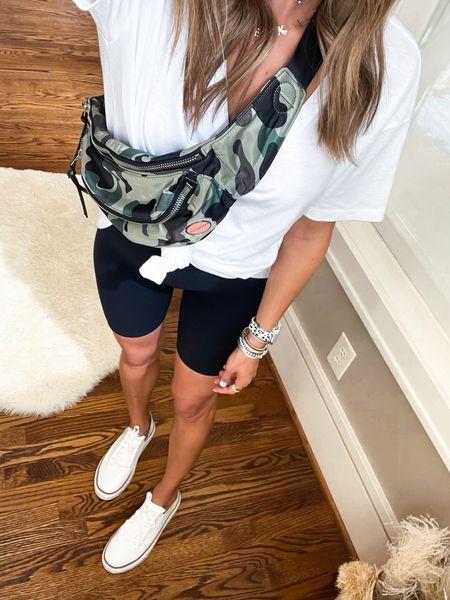 Camo waist bag comes in other colors. White tee size Xs, shorts size Xs use code afbelbel   #LTKunder50 #LTKunder100 #LTKsalealert