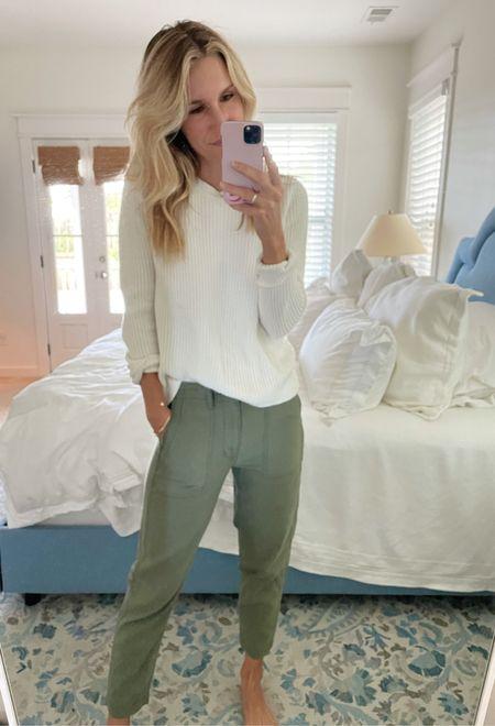 Army green pants (size down 2 sizes!!), fisherman sweater  #LTKstyletip #LTKunder100 #LTKSeasonal