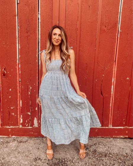 Oh my god……you look like the 4th of July.  Makes me want a hot dog real bad.   First person to name that movie gets a coffee on me ⬇️ 😂  Wearing the cutest blue checkered midi dress from @shoppinkblush  #shoppinkblush #sponsored   You can instantly shop my looks by following me on the LIKEtoKNOW.it shopping app http://liketk.it/3iztz #liketkit @liketoknow.it #LTKunder100 #LTKstyletip #LTKbump