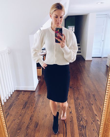 I wore this outift to a meeting yesterday. Just in case you bought this Splendid tube dress (from a couple of years ago), here's an idea of how to wear it. Find your new favorite cardigan, blouse or sweater and put it on top. Throw on some booties to give it a fall feel!   #LTKunder100 #LTKstyletip