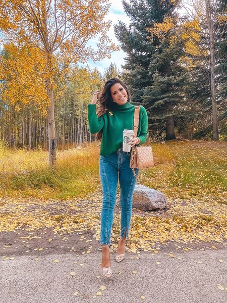 http://liketk.it/3o1t1 Fall Outfits, Fall Fashion, Free People Sweater, Cashmere Sweater, Fall Turtleneck Sweater, Skinny Jeans, Nude Heels, Louis Vuitton Coussin PM Camel, Green Sweater, Emily Ann Gemma  #LTKstyletip