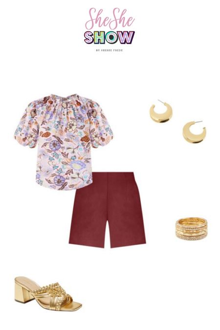 Thinking about transitioning into fall with some deeper hues with @anntaylor #anntaylor #shorts #floraltop #petitieflorals #goldsandals #slidesandals #summerlook #goldhoopearrings #goldbracelet #  #LTKtravel #LTKunder50 #LTKunder100
