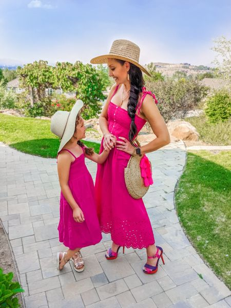 Pink mommy and me dresses, fun heels, sun hats, bags and tassels!   #LTKfamily #LTKstyletip #LTKkids