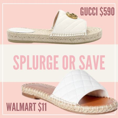 Splurge or Save — Walmart VS GUCCI sandals! I love the espadrille platform with the quilted white top! Such a great inspired look! #walmart #gucci #splurgeorsave #sandal #whitesandals #espadrille  #LTKunder50 #LTKSeasonal #LTKtravel