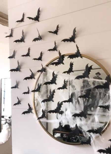 H O M E \ #hallween entry isn't complete without bats!!🦇🦇🦇  #halloweendecor #falldecor #bats #entry #entryway #roundmirror  #LTKSeasonal #LTKhome #LTKunder50