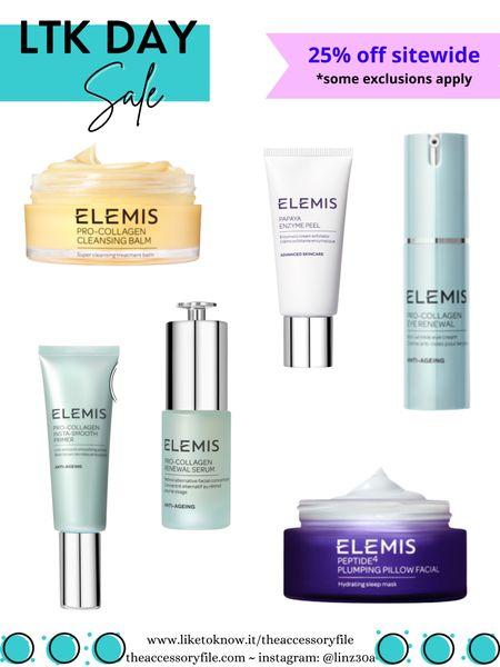 25% off Elemis skincare   Elemis pro-collagen cleansing balm, eye mask, facial oil, beauty products, acid peel, plumping facial cream   http://liketk.it/3hjv8 #liketkit @liketoknow.it #LTKDay #LTKbeauty #LTKsalealert