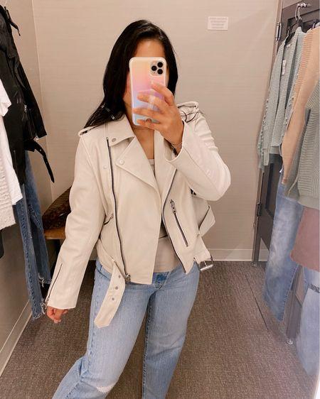 Nordstrom Anniversary Sale #nsale Best leather jacket in bone color, size up!    #LTKSeasonal #LTKsalealert #LTKstyletip