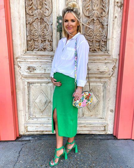 Kelly green for spring! White button down shirt (MED), green midi skirt (XS), and green sandals  http://liketk.it/3b2bv @liketoknow.it #liketkit #LTKbump