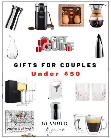 Gifts for couples under $50: Amazon, Nordstrom, Walmart & Etsy gifts for the home, kitchen & home bar. Beautiful modern wine glasses, elegant glassware, bar accessories, custom gifts & must have kitchen accessories. Couples can be hard to buy for but these home gifts are thoughtful, useful & attractive.   #LTKGiftGuide #LTKunder50 #LTKhome