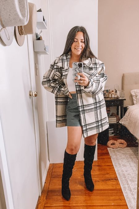 Goodnight macaroon try on haul — CAREY40 for 40% off!  Shacket Faux leather shorts  Plaid shacket Knee high boots  Fall outfits  #LTKsalealert #LTKSeasonal #LTKunder100