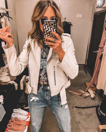 Nsale outfit idea: graphic tee, white leather moto jacket - still in stock   #LTKsalealert #LTKstyletip