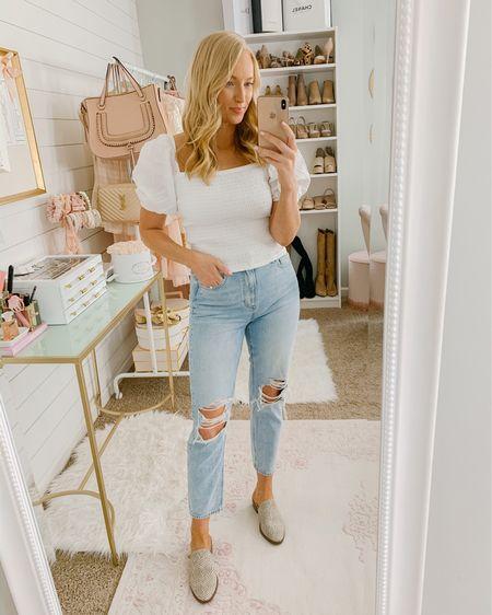 Puff sleeve top on sale! Abercrombie top and distressed mom jeans with Walmart shoes http://liketk.it/2Miz2 #liketkit @liketoknow.it #LTKsalealert #LTKunder50 #LTKspring