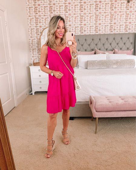 Pink shift dress with quilted crossbody and studded sandals   http://liketk.it/3hBnz #liketkit @liketoknow.it #LTKshoecrush #LTKstyletip #LTKunder50