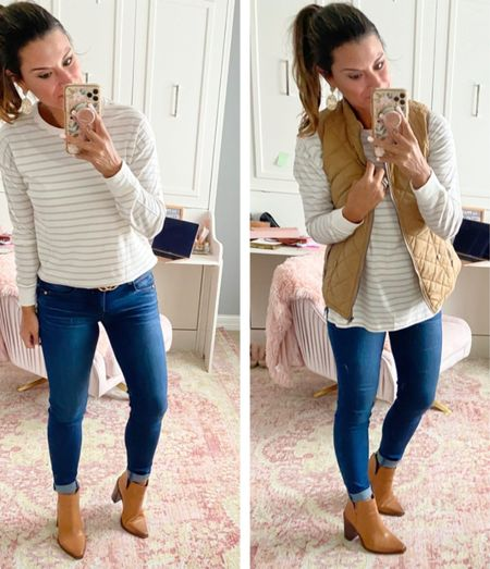 How to style a striped tee — everything is true to size. Wearing a small in the tee and vest. Wearing a 4 in the jeans. #justpostedblog  Stripes  Striped tee Fall  Women's fashion Old navy  Amazon   #LTKunder100 #LTKSeasonal #LTKstyletip