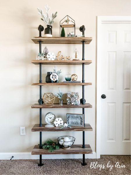 Farmhouse styled shelves  Neutral home decor  Neutral Christmas decor   #LTKHoliday #LTKhome