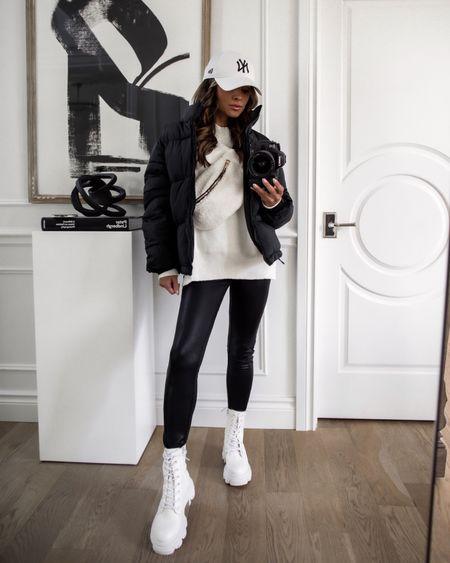 Fall outfit from Forever 21 on sale  White combat boots run TTS  Black puffer jacket  Faux shearling bumbag / belt bag  White Free People similar sweater   #LTKunder100 #LTKsalealert #LTKunder50