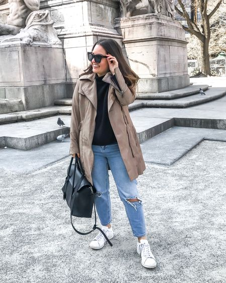 Asos ripped jeans petite, white adidas, camel trench coat, big oversized glasses, spring outfit, big black tote, http://liketk.it/2AVLw #liketkit @liketoknow.it