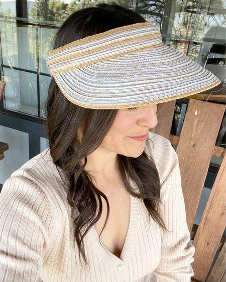 Visor, summer hat, blush sweater dress, heart loom, #LTKunder100 #LTKunder50 #LTKstyletip http://liketk.it/3gUIO #liketkit @liketoknow.it