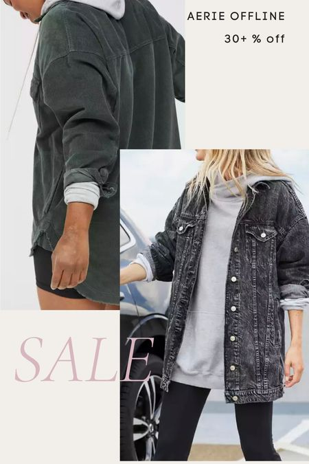 Aerie offline sale- corduroy shacket, oversized denim jacket, boyfriend denim jacket, fall   #LTKsalealert #LTKunder100