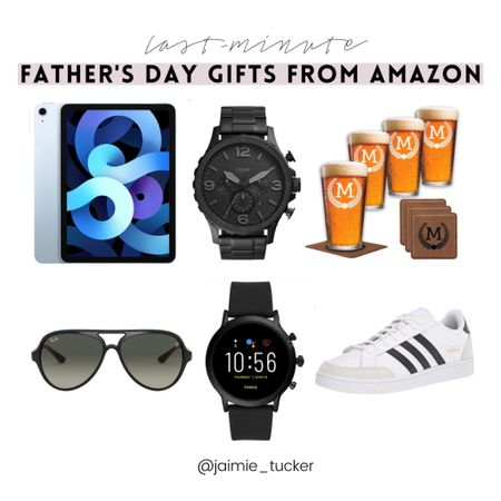 Check out these last-minute Father's Day Gifts from Amazon. | #fathersday #Fathersdaygifts #giftguide #mensaccessories #ipad #aviatorsunglasses #beerglasses #customizedgifts #mensfashion #JaimieTucker   #LTKmens #LTKstyletip #LTKtravel