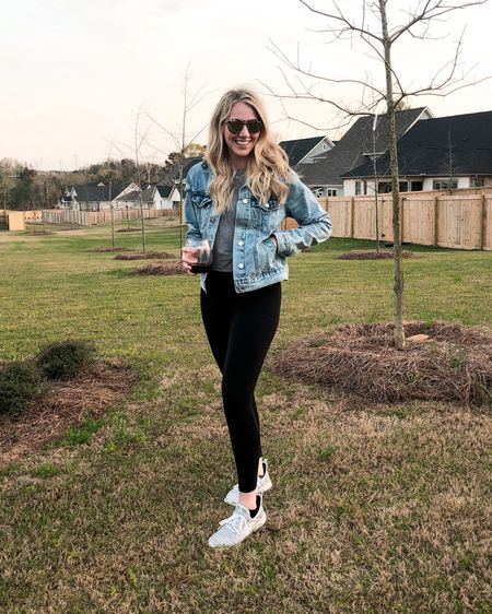 """Meeting our neighbors in the park for happy hour is the highlight of our day! Don't see that changing post-COVID 😄 I've been living in this distressed denim jacket! Love the relaxed fit and I'm wearing the small in """"medium denim"""" wash. $35 and free shipping! 😱 Shop your screenshot of this pic with the LIKEtoKNOW.it app http://liketk.it/2LN4t #liketkit @liketoknow.it"""