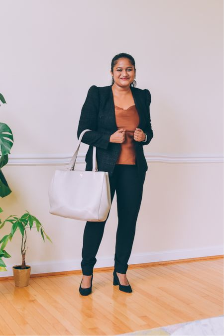 Workwear, work style, black blazer, best black trousers, Spanx black trouser, dagne dover Allyn tote, express blazer, corporate look   #LTKworkwear #LTKSeasonal #LTKunder50