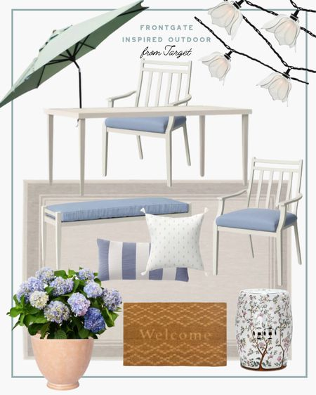 Super stylish patio furniture sale alert! This front gate inspired setup can be found at Target! I can't believe it (and also adding to cart). The perfect outdoor dining area is on sale now. No code necessary. #patiofurniture #patio #targetfinds #target #outdoorfurniture   #LTKsalealert #LTKSeasonal #LTKhome