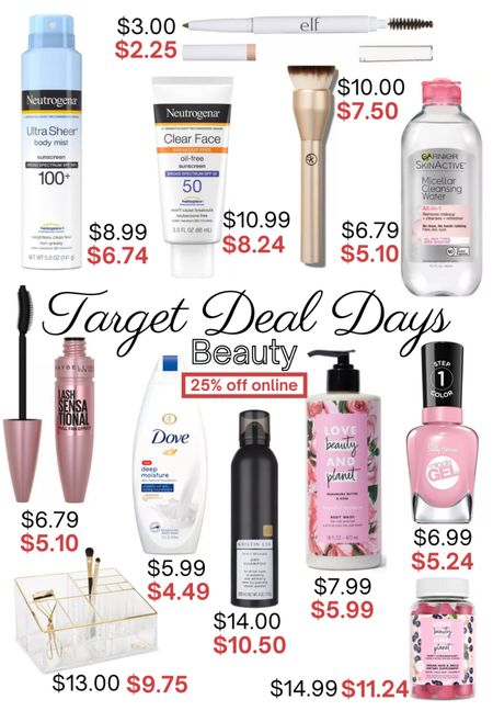 Target Deal Days June 20-22. Save 25-50% off on home, patio, beauty and more! 25% off all beauty and self-care. Neutrogena sunscreen, foundation brush, micellar water, lash sensational mascara, dry shampoo, Sally Hansen miracle gel polish, love beauty and planet body wash, eyebrow pencil, makeup organizer, vitamins. http://liketk.it/3i0FT @liketoknow.it #liketkit #LTKsalealert #LTKunder50 #LTKunder100 #LTKhome #LTKbeauty
