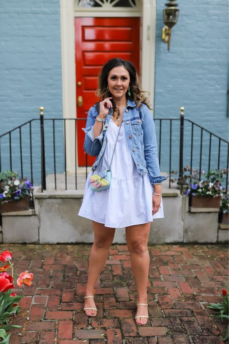 Affordable dresses for spring! I love this swing dress (size down) paired with a denim jacket (TTS) and raffia square toe heels (size up a size).     #LTKSeasonal #LTKunder50 #LTKstyletip
