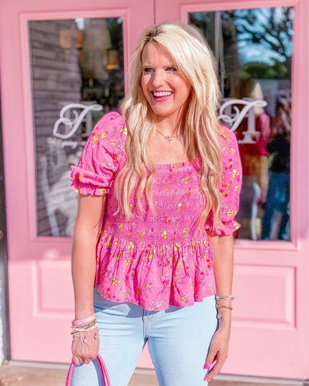 Pink and yellow puff sleeve Walmart top - runs large so size down  Buddy love flare jeans size 27/28 light wash - very stretchy  Bracelet stack  Kendra Scott necklace   http://liketk.it/3h9mc #liketkit @liketoknow.it #LTKDay #LTKunder50 #LTKstyletip