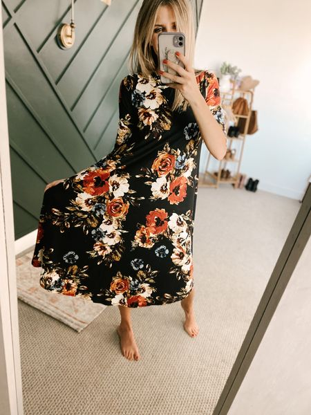 A-line Swing Trapeze Midi Dress Color: Floral Black Rust/TTS/Wearing a size S  #ifounditonamazon #amazonfashion #amazonfinds #outfitoftheday #ootd #outfitideas #outfitinspo #AmazonDress  #Amazonfalldress #amazonMidiDress   http://liketk.it/3pGhE @liketoknow.it #liketkit #LTKbeauty #LTKfit #LTKcurves #LTKstyletip #LTKSeasonal