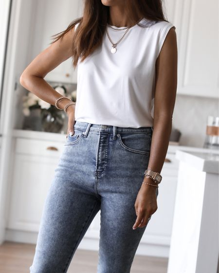 White top and jeans, summer outfit, summer look, StylinbyAylin   #LTKunder50 #LTKunder100