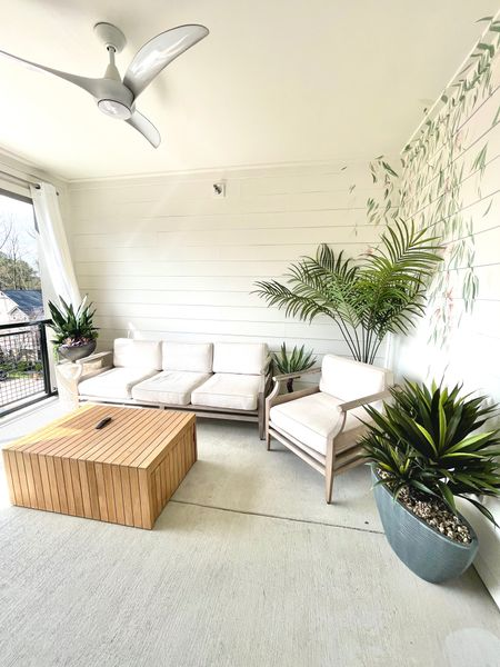 The perfect teak outdoor set with beautiful faux plant accents! #LTKday  #LTKSeasonal #LTKsalealert #LTKhome