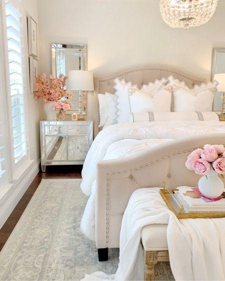 Glam bedroom, guest room, bedroom decor, mirrorrr cabinet, tufted bed, upholstered bed, glam decor, grandmillennial , ginger jar, @liketoknow.it #liketkit http://liketk.it/3hY0s #LTKhome #LTKsalealert #LTKunder50