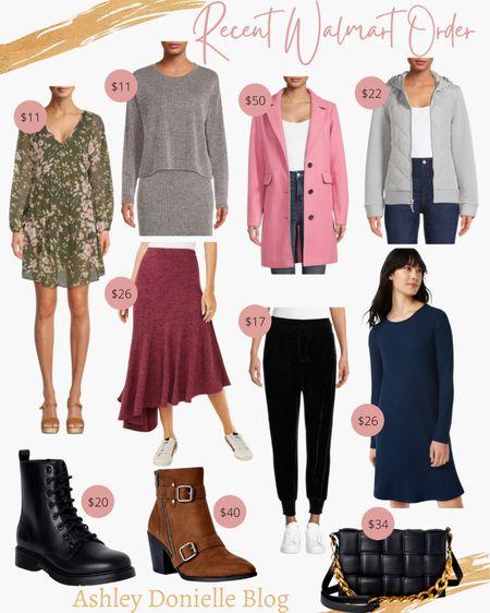 My recent Walmart order - dress, boots, booties, jackets, purse + more!   #LTKunder50 #LTKstyletip #LTKSeasonal