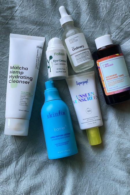 "Summer skincare for oily acne- prone. Conscience ""clean"" skincare Skinfix, supergooop unseen sunscreen, ordinary hyaluronic acid, brightening toner, follain  eye  cream,    #LTKbeauty"