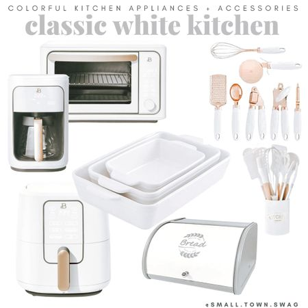 Classic white kitchen appliances and accessories!  If you like what you see, then be sure to head over to Instagram and follow me @small.town.swag! I share more of my crazy mom life, fun finds like these, home decor and more there!  Kitchen // kitchen gadgets // appliances // kitchen appliances // drew Barrymore Walmart // Drew Barrymore beautiful line // Walmart home // bowls // bowl // mixing bowls // mixing bowl // measuring cup // measuring cups // measuring spoon // measuring spoons // toaster // air fryer // blender // toaster oven //coffee maker // knife block // pots and pans // Dutch oven// kitchen pans // frying pans // pot // pots // knives // modern kitchen // toaster // cookware // white utensils // bread container // bakeware // flatware // dash appliances   #LTKfamily #LTKunder100 #LTKhome