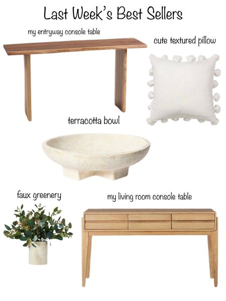 Last week's best sellers!  World Market console table, affordable pillow, Eucalyptus faux greenery, decorative bowl & Target console table.    You can instantly shop my looks by following me on the LIKEtoKNOW.it shopping app http://liketk.it/3hAg3 #liketkit @liketoknow.it #LTKunder100 #LTKunder50 #LTKhome @liketoknow.it.home