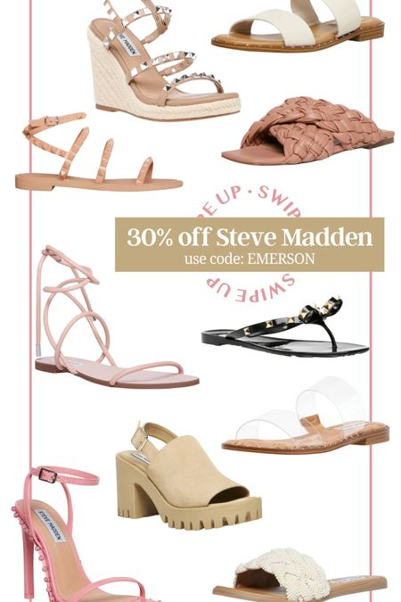 30% off Steve Madden sale! Use code EMERSON at check out! Steve Madden summer sale! Steve Madden slides Steve Madden sandals Steve Madden wedges Steve madden heels nude sandals nude wedges nude heels black sandals studded sandals tie sandals strappy sandals summer shoes casual shoes girls night out outfit date night outfit gift for her gift for mom beach shoes formal shoes wedding guest shoes white sandals clear sandals #LTKshoecrush #LTKsalealert #LTKunder100 http://liketk.it/3hNrk #liketkit @liketoknow.it