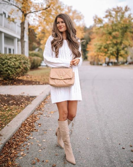 The Krista Cable Knit Sweater Dress Ivory  XS, TTS, cmcoving, Caitlin Covington, Pink Lily Collection, fall fashion, use code CAITLIN20 for 20% off!   #LTKunder100 #LTKsalealert #LTKSeasonal