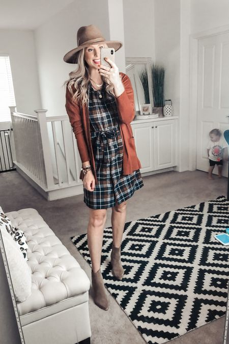 Loving this plaid dress with a pumpkin cardigan! How cute would it be for fall family pictures! ❤️ both from Walmart and super affordable! Small cardi  Med dress   http://liketk.it/2XWok #liketkit @liketoknow.it #LTKunder50 #LTKstyletip #LTKshoecrush