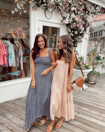 Summer dresses, blush dress is 15% off with code JKJULY15 and slides are 15% off with code SHANNON15 //     #LTKstyletip