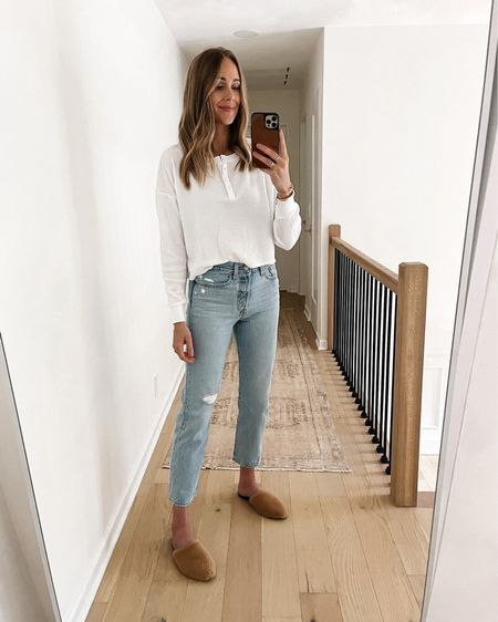 Casual and comfy in this white thermal (size 1) and Levi's jeans (size up). Shearling mules use code JACKSON15 for a discount (tts) #falloutfits  #LTKshoecrush #LTKunder100 #LTKstyletip